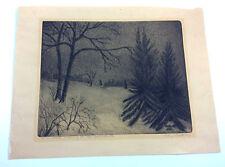 Antique pencil signed Peter J. PLatt copper plate etching dated 1922 River Dale