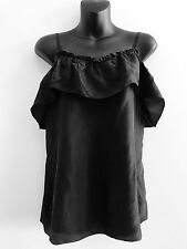 WITCHERY BLACK SILK FRILL TOP SIZE S AS NEW