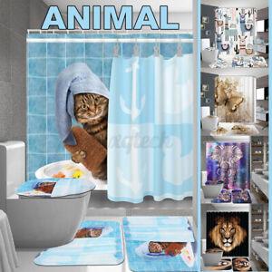4Pcs/set Waterproof Shower Curtain Bathroom Toilet Cover Mat Carpet Rug Animal
