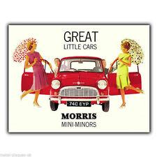 PLACCA di Metallo Segno Muro Mini Morris Minor Retro Vintage Pubblicità Poster Art Print