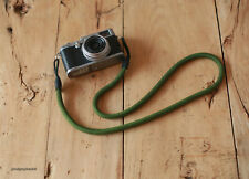 D Style green 10.5mm Climbing rope black leather handmade Camera neck strap SLR