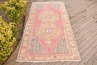 Turkish Rug 49''x99'' Vintage Light Muted Color 4x8 Rug Oushak Carpet 125x254cm