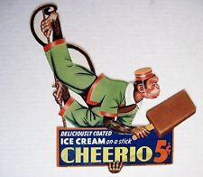 """Vintage 1941 Advertising Card for """"Ice Cream-Cheerio"""" w/ Monkey on a Rope *"""