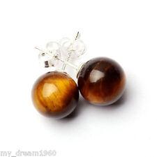 Genuine Natural 10mm Round Tiger Eye Stone Bead Stud Earrings