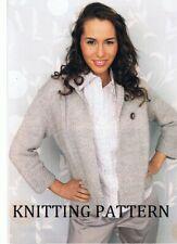 (707) Ladies Cardigan COPY Knitting Pattern, Easy Knit In Aran, 81-126 cm bust