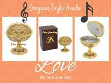 Stunning TAYLOR AVEDON Keepsake Trinket Egg Jewellery MUSIC Box MB1031 BROWN