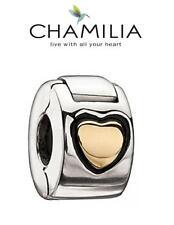 Genuine chamilia 925 De Plata Y Clip De Corazón Oro 14k bloqueo de la libertad encanto RRP £ 60