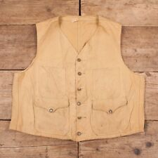 "Vintage pour homme Filson 1940 s Washed Duck Tin Cloth Chasse Gilet Large 42"" XR 9737"