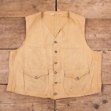 """Mens Vintage Filson 1940s Washed Duck Tin Cloth Hunting Vest Large 42"""" XR 9737"""