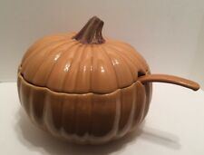 LG POTTERY BARN REALISTIC PUMPKIN SOUP TUREEN W/ LID & LADLE MADE IN PORTUGAL