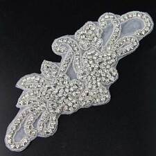 Silver Flower Rhinestone Trim Beaded Applique Stitch Bridal Dress Costume Motif