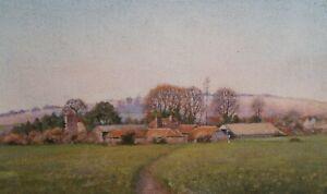Church Farm Lavant. Acrylic Landscape Painting. Canvas On Board. Original.