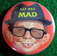 "MAD MAGAZINE ""RAP MAD"" Promo Pinback Button Pin 1987"