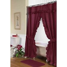 Lauren Double Swag Shower Curtain, Burgundy Fscd-L/20 New