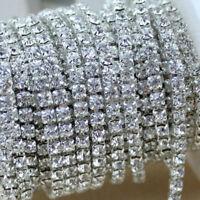 10M Crystal Rhinestone Trims Close Chain Cilver 11 Yard DIY Decoration 2mm DIY