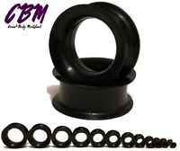 "Pair 8g - 2"" 51 mm Black Silicone Plugs Tunnels Eyelets Ear Skin Flesh Gauges"