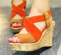 Roma Women's Wedge Heel Platform Open Toe Casual Summer Sandal Shoes Plus Size