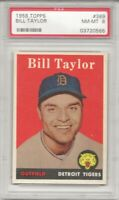 1958 Topps # 389 BILL TAYLOR, PSA 8 NM-MT, DETROIT TIGERS, L@@K !