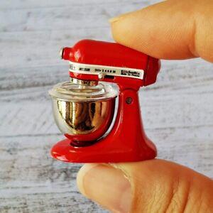 Dollhouse Miniature Red Kitchenware Electric Whisker Kitchen Aid Mixer Metal