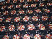 "Semi-sheer Black Fabric Embroidered Flowers Orange Yellow White 5 yards 36"" wide"