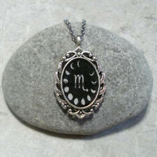 Moon Phase Scorpio Pendant Necklace Jewelry Antique Silver