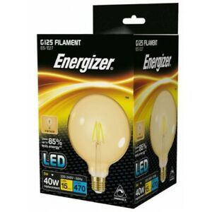 Energizer Dimmable 5W = 40W LED Filament G125 Antique Light Bulb Edison Screw