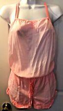 Women's VICTORIA'S SECRET Neon Pink Jumpsuit Romper Jumper Shorts Adjusts Sz XS
