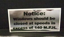 NOVELTY SPEED WARNING DASHBOARD DECAL, 140 MPH, RAT ROD, HOT ROD, CHECK IT OUT !