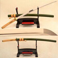 Japanese Samurai Katana Green Hard Wooden Saya Sword Battle Ready 1095 Steel