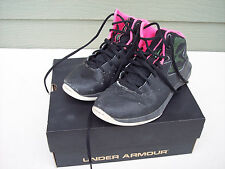 Under Armour Girls Athletic Shoes Sz 4.5 4 1/2 Black Pink BGS ROCKET Basketball