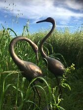 Two Cast Iron Elegant Cranes Garden Home Statues Bronze Finish
