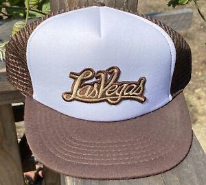 Vintage 80's LAS VEGAS Trucker Hat Blue Mesh Back One Size