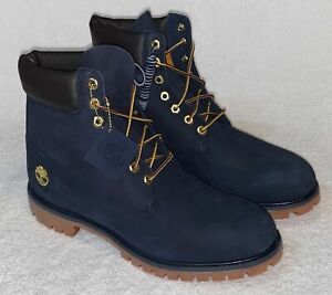 """TIMBERLAND 6"""" Premium Waterproof Nubuck Navy Blue Gold Ankle Boots Mens 12 Wide"""