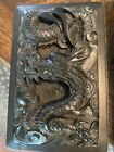 """vintage Chinese hand carved """"Dragon Design"""" INK STONE Caligraphy Art"""