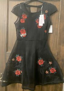 Whitby Vamp Gothic Goth SteamPunk Rockabilly Black Rose Dress New RRP£100 Size M