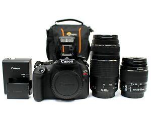 Canon EOS Rebel T7 24.1MP DSLR Camera w/ 18-55mm IS II & 75-300mm Zoom Lens