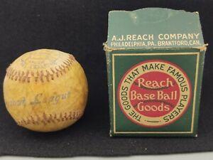 ANTIQUE c. 1918 REACH NO. 9B SCOUT LEAGUE BASEBALL W/ ORIGINAL BOX