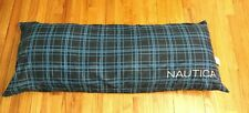 NAUTICA BODY Lumbar Throw PILLOW BLUE PLAID DECOR Embroidery Logo Hollander 48""
