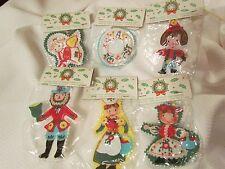 Vintage Retro Felt Embroidered Christmas Ornament Lot Man Girl Angel Dutch Swiss
