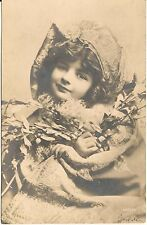 Beautiful Victorian Child or Young Girl Holding Berry Branches RP Postcard 1906