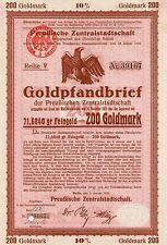 Preußische Zentralstadtschaft Berlin Gold Pfandbrief 1925 Bank Anleihe Preussen