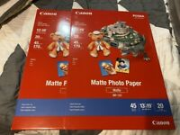 "LOT OF 2 NEW SEALED CANON PIXMA MATTE PHOTO PAPER MP-101 13""x19"" 20 SHEETS PER"