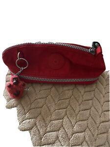 KIPLING ladies Red make up bag pencil case with Benjamin monkey