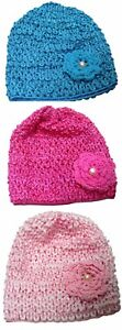 Bella Baby Stretchy Knitted Bonnet Hat with Aplique Ornement U16250-6259