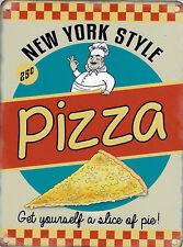 NUOVO 15x20cm NEW YORK PIZZA Retrò piccolo in metallo Insegna Pubblicitaria muro
