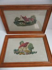 2 Finished Needlepoint Country Cottage Completed Wood Framed 8.5x12.5 Vintage