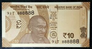 RARE  INDIA 10 Rupees B/Note SOLID Number S/N 91T 888888 UNC(+FREE1 note) #17218