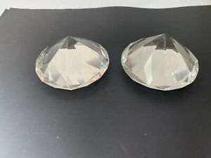 Two large identical Crystal glass diamond shape paperweights. 10cm diameter