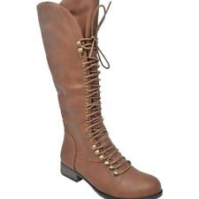 Boots 7.5 Tall Knee High Brown Faux Leather Lace Up Boho Steampunk Women's New