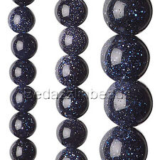 Lot of 10 Round Blue Copper Glitter Goldstone Manmade Gemstone Beads Small - Big